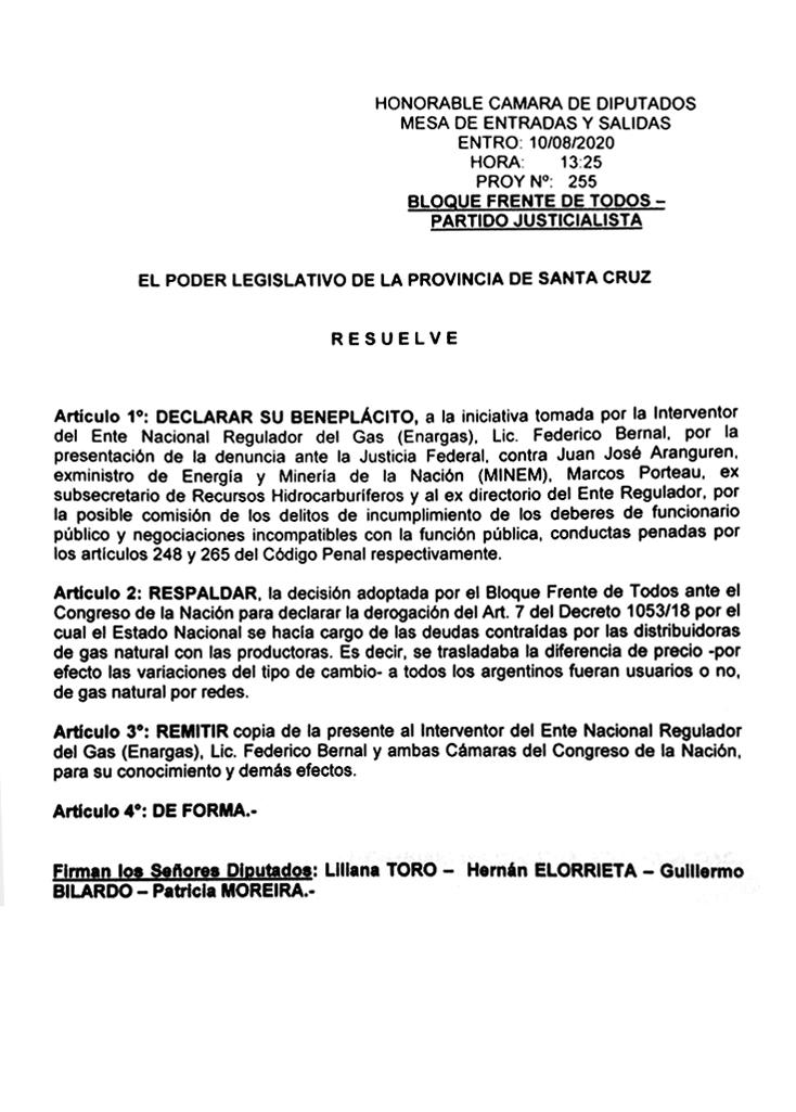 El Poder Legislativo de Santa Cruz declaró su beneplácito a la iniciativa tomada por Bernal que denunció penalmente a Aranguren